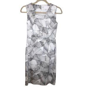 Hugo Boss White Gray Abstract Floral Sheath Dress
